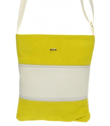 Žluto-bílá crossbody kabelka s koženými pruhy M258 - Grosso