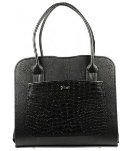 Čierna matná kabelka s kroko vzorom S556   Grosso