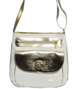 Bielo-zlatá crossbody taška s ozdobou M194 - Grosso