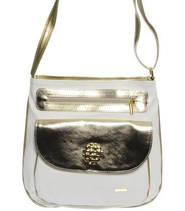 Bílo-zlatá crossbody taška s ozdobou M194 - Grosso