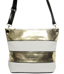 Bielo-zlatá praktická crossbody kabelka S675 - Grosso