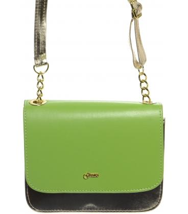 Zeleno-zlatá crossbody kabelka s řetízkem M270 - Grosso