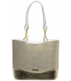 Zlato-bílá třpytivá kabelka s vyztužením S656 - Grosso