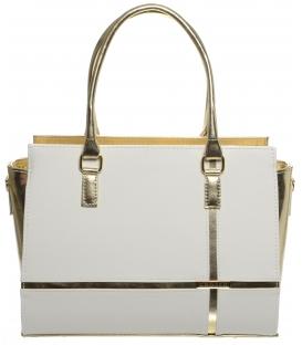 Bielo-zlatá elegantná kabelka S679 - Grosso