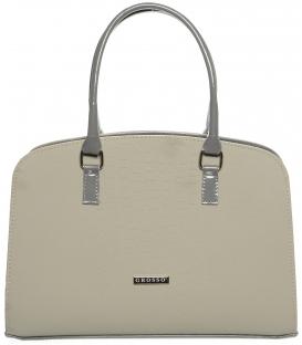 Béžovo-šedá vystužená kabelka cez rameno S565 - Grosso