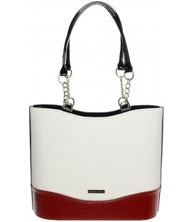 Bílo-červená vysoká kabelka s řetízkem S656 - Grosso