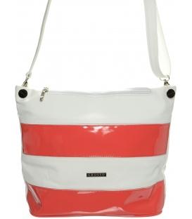 Bílo-korálová větší crossbody taška S675 - Grosso