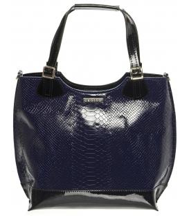 Modro-čierna kabelka s kroko vzorom S581 - Grosso