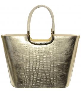 Zlatá elegantní kabelka s kroko přechodem S7 - Grosso