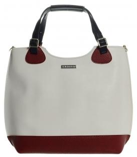 Bílo - červená shopper kabelka S581 - Grosso