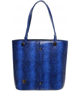 Modrá vysoká kabelka s hadím vzorom S672 - Grosso