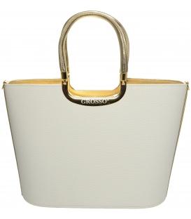 Bielo-zlatá elegantná kabelka do ruky S7  - Grosso
