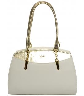 Bílo-zlatá elegantní kabelka s řetízkem S498 - Grosso