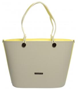 Krémově-žlutá vyztužená kabelka na rameno S631 - Grosso