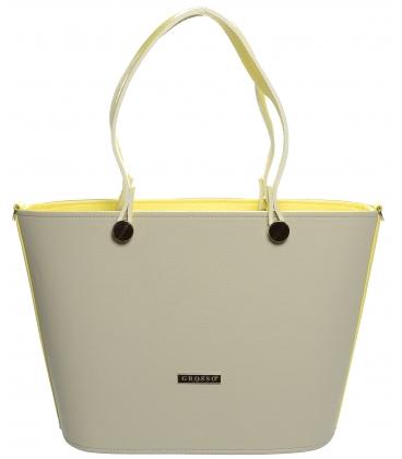 Krémovo-žltá vystužená kabelka na rameno S631 - Grosso