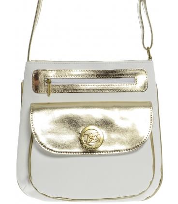 Bílo-zlatá elegantní crossbody taška M194 - Grosso