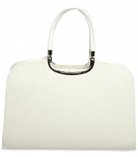 Bílá matná kabelka se stříbrnou aplikací S6 - Grosso