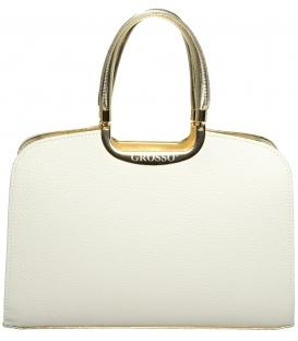 Bielo - zlatá elegantná kabelka S6 - Grosso (1)