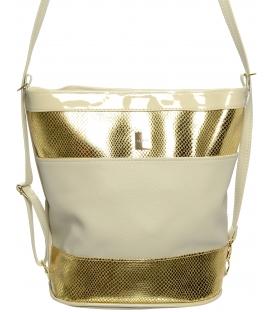 Béžovo-zlatá crossbody kabelka s hadím vzorem M252 - Grosso (1)
