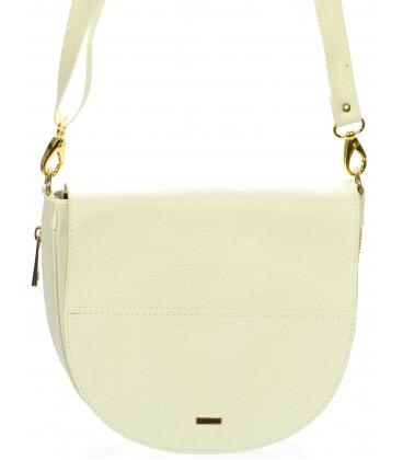 Bílá crossbody taška se zlatým zipem S686-Grosso