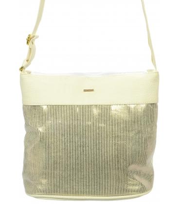 Bílo-zlatá crossbody kabelka se zlatými pruhy S687 - Grosso
