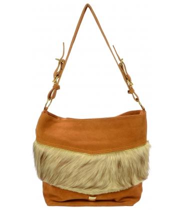 Škoricová kožená kabelka s kožušinkou K601b - Grosso
