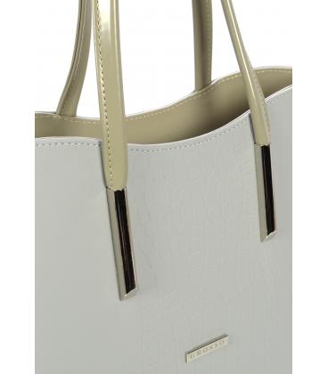 Bledosivá vystužená kabelka s kroko prechodom S638 - Grosso