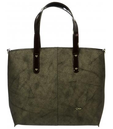 Hnedá metalická kabelka cez rameno S696 - Grosso