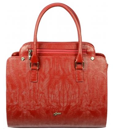 Červená elegantná kabelka s potlačou S705 - Grosso