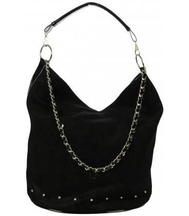 Športovo elegantná čierna taška s retiazkou S633 - Grosso