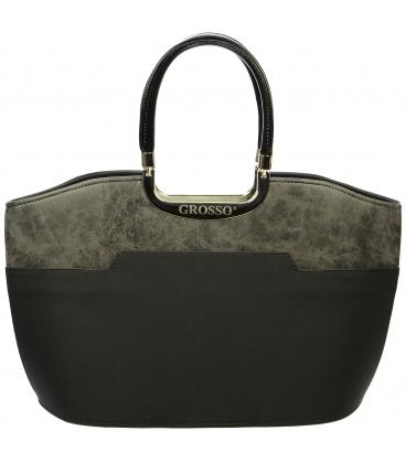 Sivo- černá elegantní vyztužená kabelka S5 - Grosso