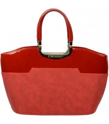 Červená  elegantná vystužená kabelka  S5 - Grosso