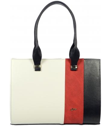 Bílo modro červená elegantní vyztužená kabelka S499 Grosso