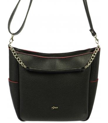 Čierna crossbody kabelka s červeným lemom  S648 - Grosso