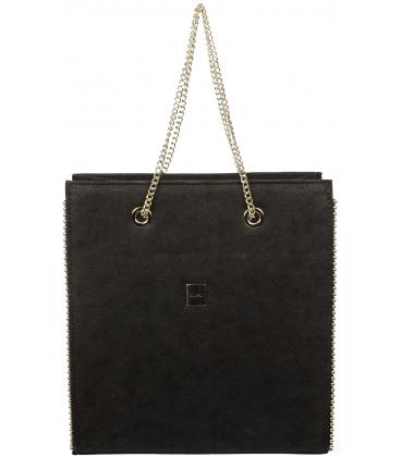 Černá vyztužená kabelka s řetízkem S709 - Grosso