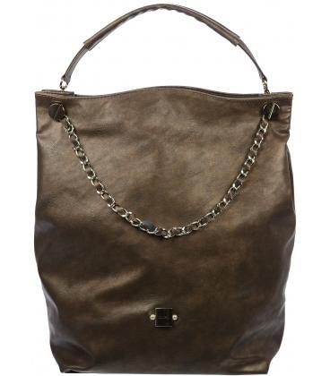 Veľká tmavohnedá kabelka so striebornou retiazkou S710 - Grosso