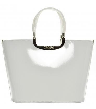 Elegantní bílá kabelka S7 lak - Grosso