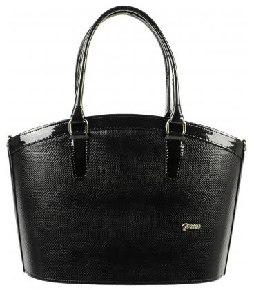 Čierna elegantná kabelka s potlačou hada S505 - Grosso