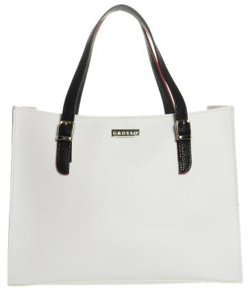 Bílo-černá široká kabelka S573 - Grosso