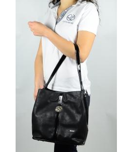 Čierna metalická mechová kabelka S404   Grosso