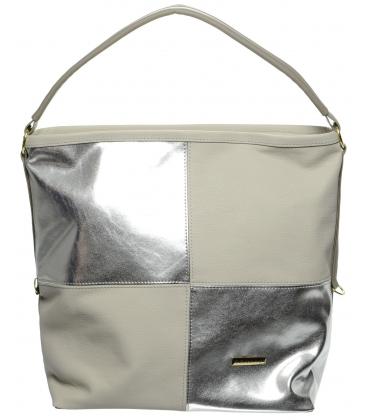 Sivo-strieborná mechová kabelka S668 - Grosso