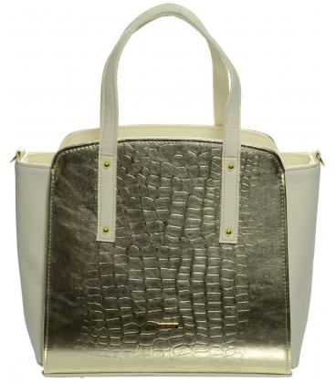 Zlato-béžová kabelka s kroko potlačou S674 - Grosso