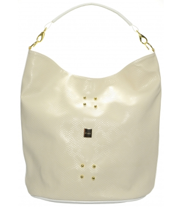 Béžová vybíjaná kabelka cez rameno S595 - Grosso