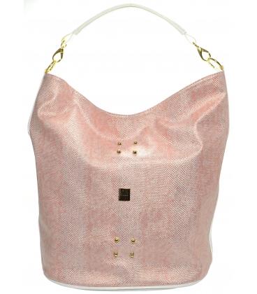 Ružová vybíjaná kabelka cez rameno S595 - Grosso