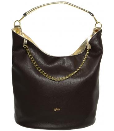 Tmavohnedá kabelka cez rameno so zlatým lemom S633 - Grosso