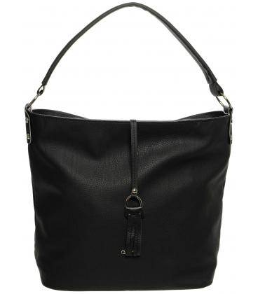 Čierna matná kabelka so strapcom S680  -Grosso