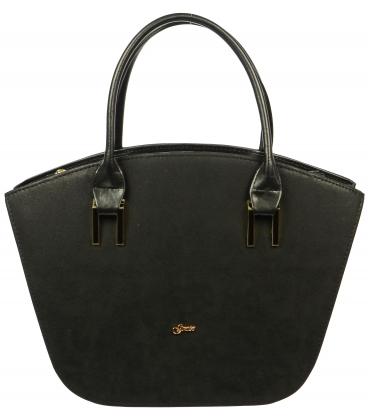 Čierna elegantná vystužená kabelka S525 - Grosso