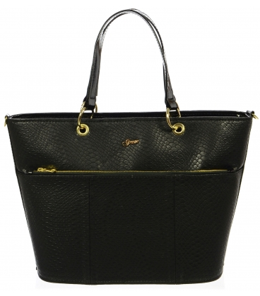 Čierna elegantná kabelka s hadím vzorom S698 - Grosso