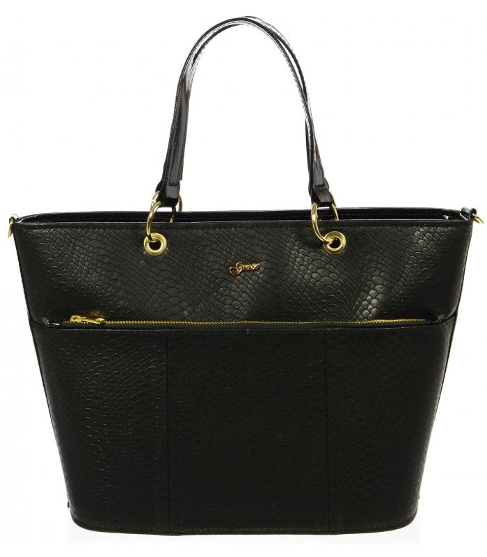 aa0f1cd89e Černá elegantní kabelka s hadím vzorem S698 - Grosso - Grosso