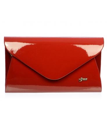Lesklá červená spoločenská kabelka SP126 - Grosso